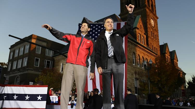 Republican presidential candidate and former Massachusetts Gov. Mitt Romney and Republican vice presidential candidate, Rep. Paul Ryan, R-Wis., campaign in Lancaster, Ohio, Friday, Oct. 12, 2012. (AP Photo/Charles Dharapak)