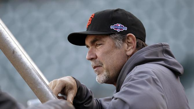San Francisco Giants manager Bruce Bochy watches over a voluntary workout in preparation for Sunday's Game 6 of the National League championship baseball series against the St. Louis Cardinals, Saturday, Oct. 20, 2012, in San Francisco. (AP Photo/Ben Margot)