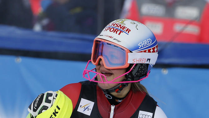 Switzerland's Charlotte Chable reacts after finishing her second run during the women's World Cup slalom ski race Sunday, Nov. 29, 2015, in Aspen, Colo. (AP Photo/Brennan Linsley)