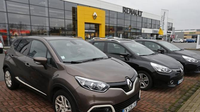 Renault cars are seen at a dealership of French car maker Renault in Haguenau