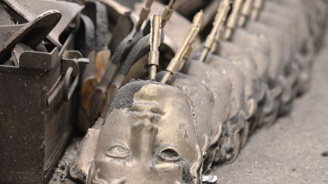 British Academy of Film and Television Awards winner's masks are made at foundry ahead of the 2015 BAFTA Awards Ceremony, in west London