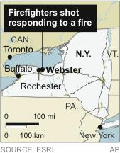 Map locates Webster, N.Y. where firefighters were shot