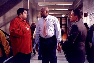 Lick (Heavy D, L), Harper (Chi McBride, C) and Guber (Anthony Heald, R) discuss details of a student?s hit-list on the &quot;Chapter Sixteen&quot; episode of Fox's Boston Public Boston Public 