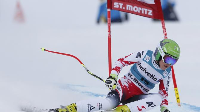 Schmidhofer of Austria competes during women's Alpine Skiing World Cup Super-G in St. Moritz