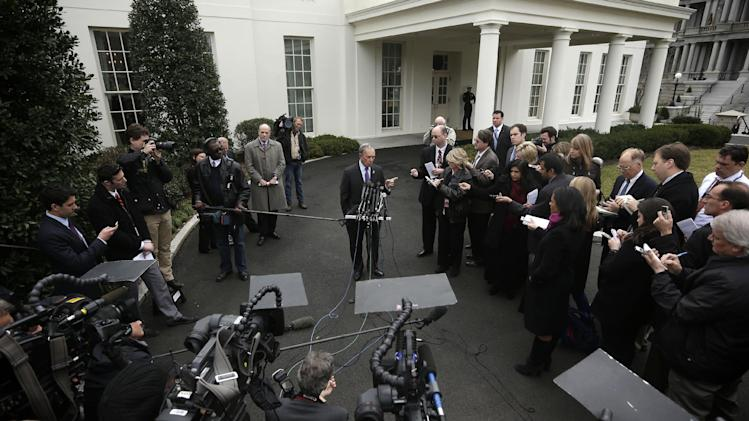 New York City Mayor Michael Bloomberg, center, speaks to members of the media outside the West Wing of the White House in Washington, Wednesday, Feb. 27, 2013, following his meeting with Vice President Joe Biden. (AP Photo/Pablo Martinez Monsivais)
