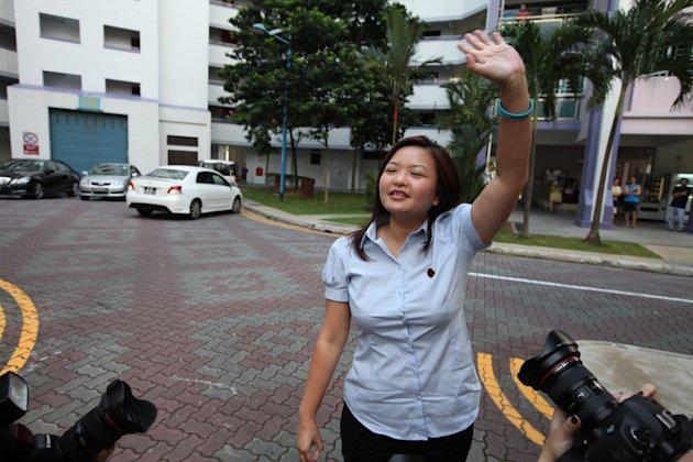 WP&amp;#39;s Lee Li Lian greeting Punggol East residents at the thank you parade.