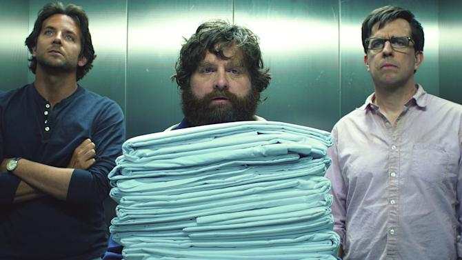 """This film publicity image released by Warner Bros. Pictures shows Bradley Cooper as Phil, left, Zach Galifianakis as Alan, center, and Ed Hlems as Stu in a scene from """"The Hangover Part III.""""  (AP Photo/Warner Bros. Pictures)"""