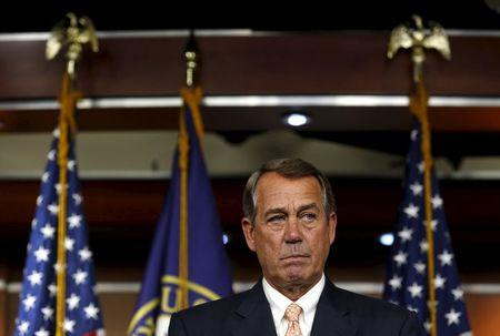 U.S. House Speaker Boehner (R-OH) speaks at his weekly press briefing on Capitol Hill in Washington