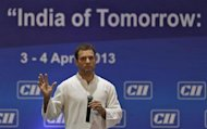 Rahul Gandhi, a lawmaker and son of India's ruling Congress party chief Sonia Gandhi, speaks during the 2013 annual general meeting and national conference of Confederation of Indian Industry (CII) in New Delhi April 4, 2013. REUTERS/Adnan Abidi