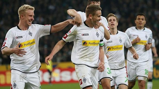 Borussia Moenchengladbach players celebrate