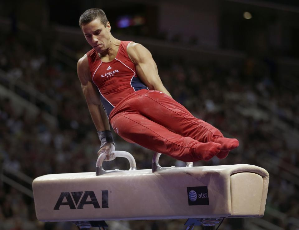 Jake Dalton competes on the pommel horse during the final round of the men's Olympic gymnastics trials, Saturday, June 30, 2012, in San Jose, Calif. (AP Photo/Jae C. Hong)