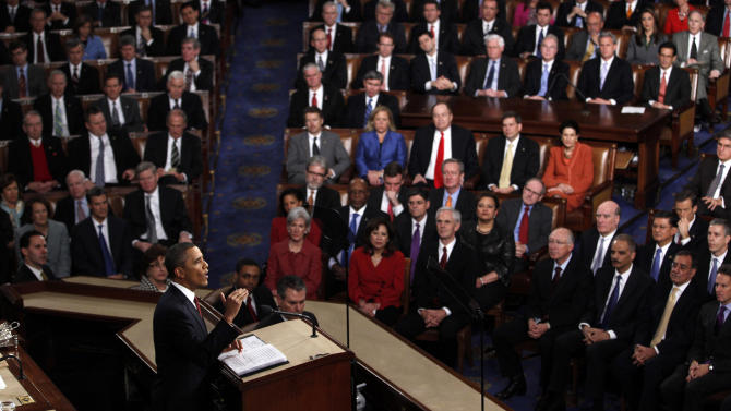 FILE – In this Jan. 24, 2012 file photo, President Barack Obama delivers his State of the Union address on Capitol Hill in Washington. As President Barack Obama delivers his State of the Union speech Tuesday night, Feb. 12, 2013, he presides over an economy much healthier than the one he inherited four years ago. Yet growth remains slow and unemployment high. (AP Photo/Evan Vucci, File)