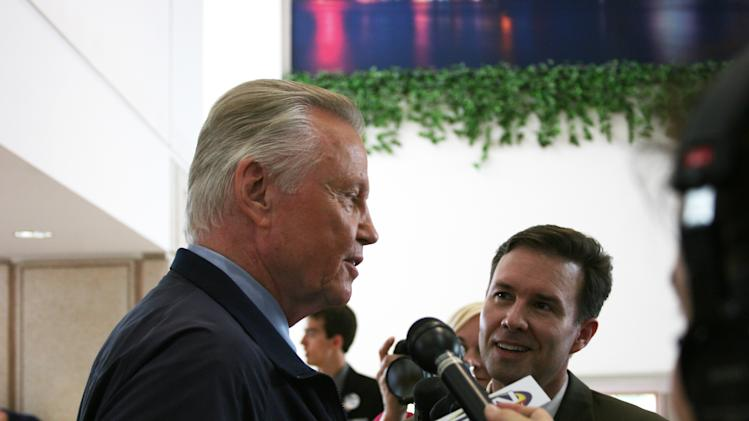 Actor Jon Voight talks to the press on his way to an interview at the media filing center for the Republican National Convention on Wednesday, Aug. 29, 2012. (Torrey AndersonSchoepe/Yahoo! News)