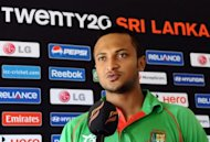 Bangladesh cricketer Shakib Al Hasan speaks in Colombo on September 14. Bangladesh will be hoping star all-rounder Hasan shines with both bat and ball if they are to have a chance of upsetting New Zealand in the World T20 Group D opener here on Friday