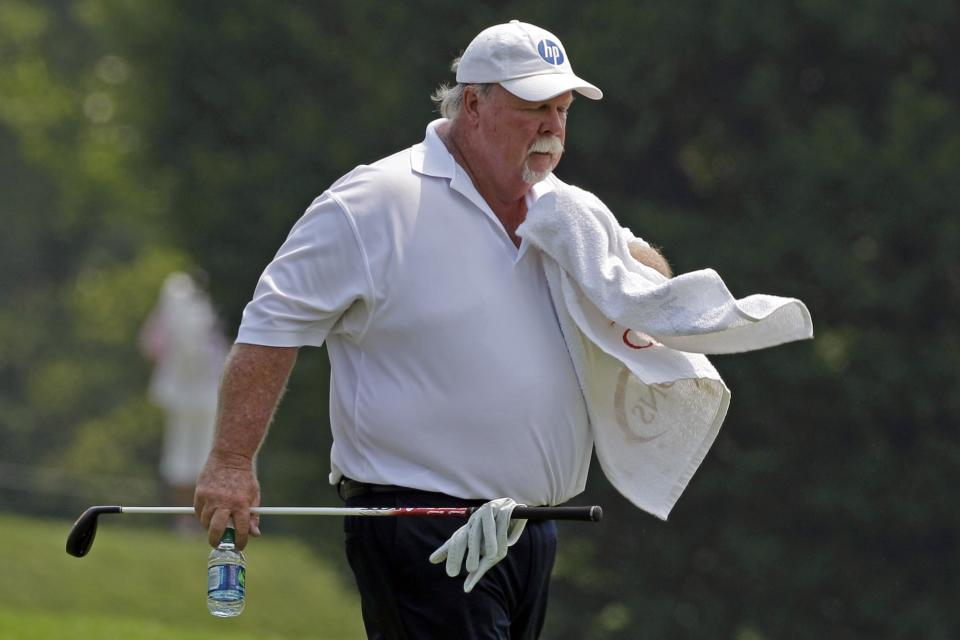 Craig Stadler walks up the ninth fairway during the second round of the Senior Players Championship golf tournament at the Fox Chapel Country Club in Fox Chapel, Pa., Friday, June 29, 2012. (AP Photo/Gene J. Puskar)