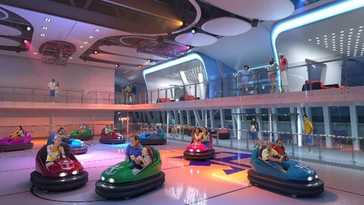 This computer-generated image provided by the Royal Caribbean International cruise line shows a bumper car attraction planned for the  forthcoming ship, Quantum of the Seas. The ship will offer a number of innovative features that are the first-ever for the cruise industry, including The North Star, an observation capsule on a movable arm that will offer a bird's eye view from 300 feet above the water and a bumper car arena. The ship is expected to launch in November 2014 and will homeport from Bayonne, N.J. (AP Photo/Royal Caribbean International)