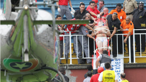 Brazilian league match halted by fan violence