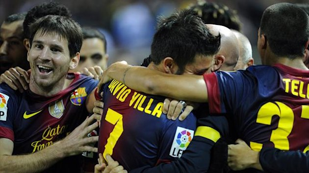 Barcelona celebrate their comeback against Sevilla, September 2012
