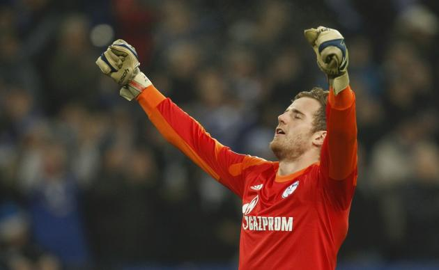 Schalke 04's Faehrmann celebrates after their Champions League group E soccer match against FC Basel in Gelsenkirchen