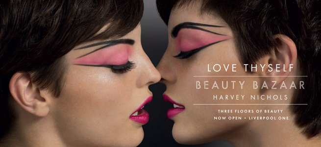 Just in: Harvey Nichols Beauty Bazaar Love Thyself Campaign With Electric Pink Lips And Hot Pink Eyes
