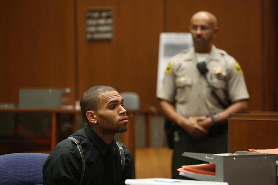 This pool photo shows R&B singer Chris Brown at his court hearing to update the judge on his probation for the 2009 beating of then-girlfriend Rihanna,  Thursday, Nov. 1, 2012, in Los Angeles. (AP Photo/David McNew, Pool)