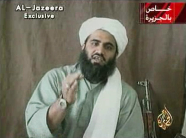 This image made available by Al-Jazeera shows Sulaiman Abu Ghaith, Osama bin Laden's son-in-law and spokesman.  Abu Ghaith has been captured by the United States, officials said Thursday, March 7, 201