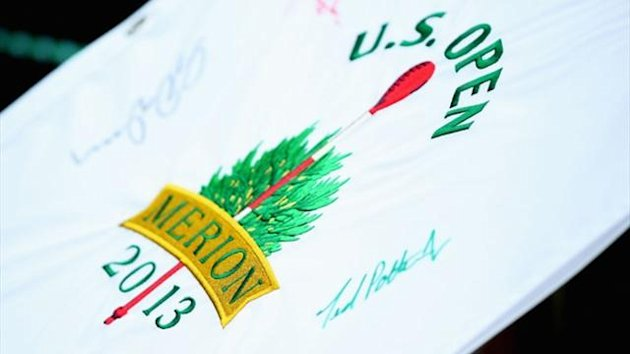 An autographed flag during a practice round prior to the start of the 113th US Open at at Merion Golf Club (AFP)