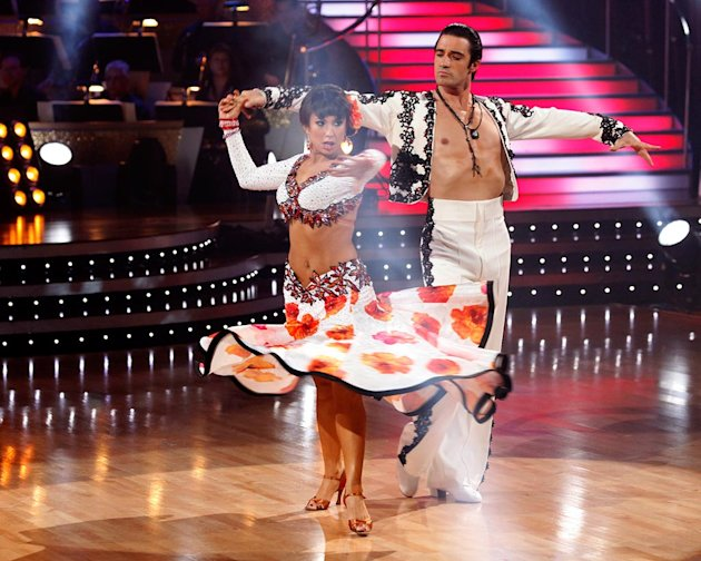 "Gilles Marini and Cheryl Burke perform the Paso Doble to ""So What"" by Pink on ""Dancing with the Stars."""