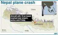 Graphic showing Kathmandu, capital of Nepal, where a plane carrying 19 people crashed on Friday, killing everyone on board