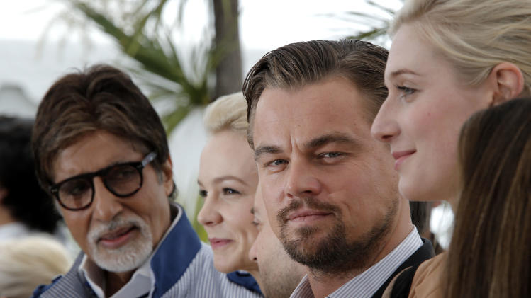From left, actors Amitabh Bachchan, Carey Mulligan, Leonardo DiCaprio and Elizabeth Debicki pose for photographers during a photo call for the film The Great Gatsby at the 66th international film festival, in Cannes, southern France, Wednesday, May 15, 2013. (AP Photo/Francois Mori)
