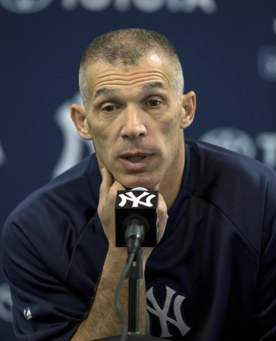 New York Yankees manager Joe Girardi speaks to the media during baseball spring training at George M. Steinbrenner Field Tuesday, Feb. 12, 2013, in Tampa, Fla.  (AP Photo/Scott Iskowitz)