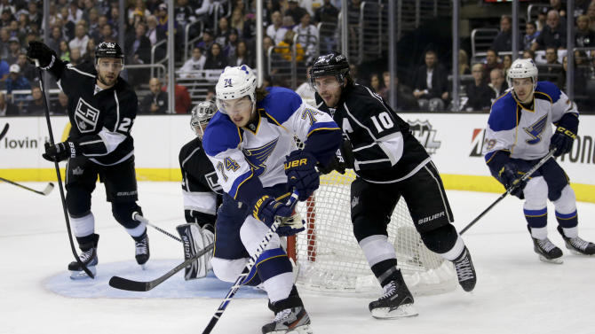 St. Louis Blues' T.J. Oshie(74) controls the puck against Los Angeles Kings' Mike Richards(10) during the first period in Game 6 of a first-round NHL hockey Stanley Cup playoff series in Los Angeles, Friday, May 10, 2013. (AP Photo/Jae C. Hong)