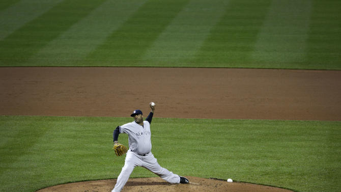 New York Yankees starting pitcher CC Sabathia throws to the Baltimore Orioles in the third inning of a baseball game in Baltimore, Wednesday, May 4, 2016. (AP Photo/Patrick Semansky)