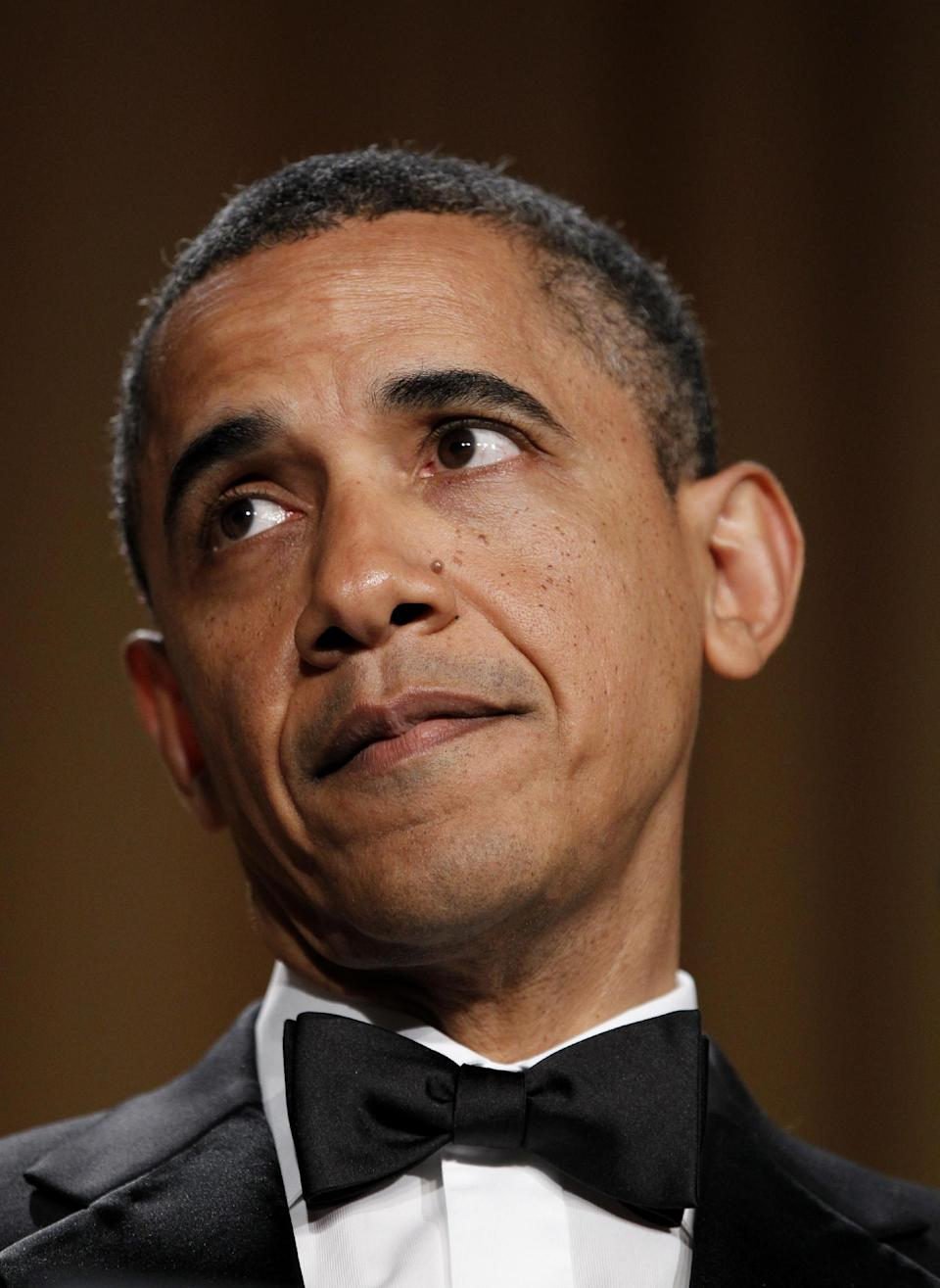 President Barack Obama attends the White House Correspondents' Association Dinner, Saturday, April 28, 2012 in Washington. (AP Photo/Haraz N. Ghanbari)