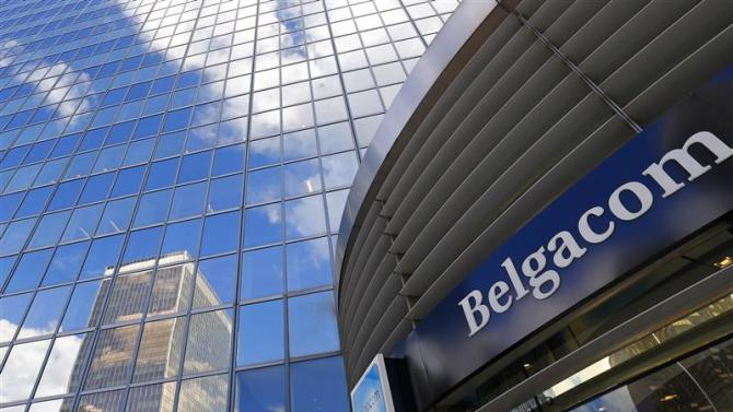 A logo of Belgium's telecom operator Belgacom is seen at an entrance of Belgacom headquarters in Brussels