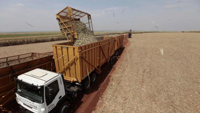 Sugar cane is loaded into a truck at a mill of Da Mata, the Brazilian sugar cane processor, in Valparaiso