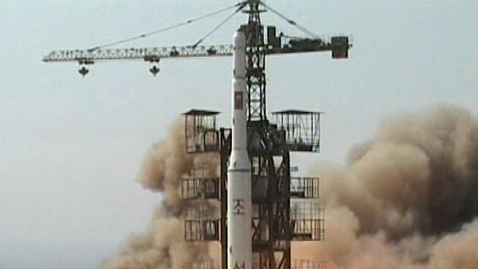 FILE - In this April 5, 2009 image made from KRT video, a rocket is lifted off from its launch pad in Musudan-ri, North Korea. As the U.S. and its allies decry North Korea's planned rocket launch, they're also rushing to capitalize on the rare opportunity it presents to assess the secretive nation's ability to strike beyond its shores. (AP Photo/KRT via AP Video, File) NORTH KOREA OUT, TV OUT