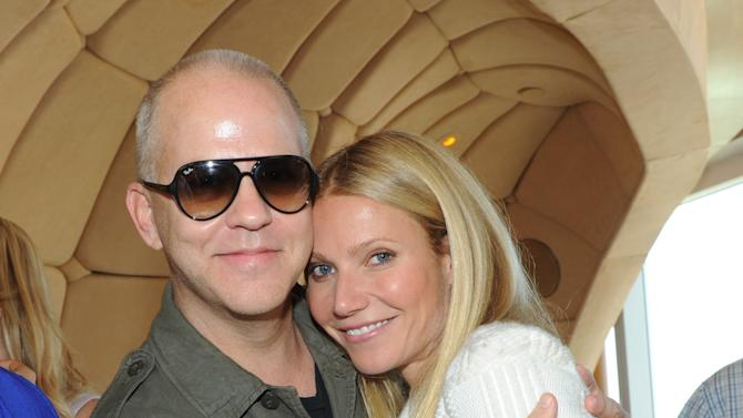 IMAGE DISTRIBUTED FOR TRACY ANDERSON METHOD - Gwyneth Paltrow and Ryan Murphy, creator of Glee, celebrate the launch of the Tracy Anderson Method Pregnancy Project DVD series at The Top of The Standard in New York, Friday, Oct. 5, 2012, in support of Every Mother Counts.  (Photo by Diane Bondareff/Invision for Tracy Anderson Method/AP Images)