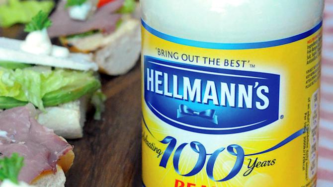 """FILE - This undated file product image provided by Unilever shows Hellmann's real mayonnaise. Hellman's mayonnaise maker Unilever says that it has withdrawn its lawsuit against the maker of """"Just Mayo.""""  Unilever had filed suit against Hampton Creek earlier this year claiming false advertising for Just Mayo, an eggless product.  (AP Photo/Unilever, File)"""