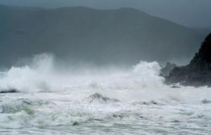Waves crash as Typhoon Neoguri approaches the region at Wase beach at Amami Oshima