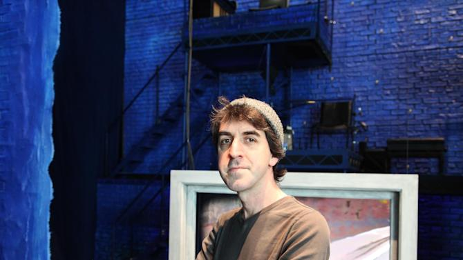 "This Wednesday, March 27, 2013 photo shows songwriter Jason Robert Brown at Second Stage Theatre, where a revival of his show ""The Last Five Years"" is playing, in New York. The song cycle debuted in New York in 2002 and, despite a short run, has become a staple in regional theaters and colleges.  (AP Photo/Mark Kennedy)"