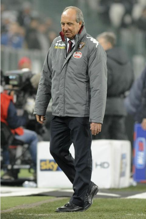 Torino's coach Giampiero Ventura reacts during their Italian Serie A soccer match against Juventus at Juventus Stadium in Turin