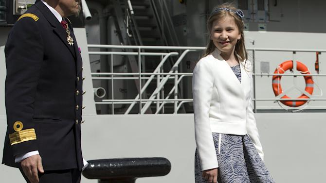 Belgium's Princess Elisabeth smiles during the launching of the new Belgian navy patrol ship P902 Pollux in Zeebrugge