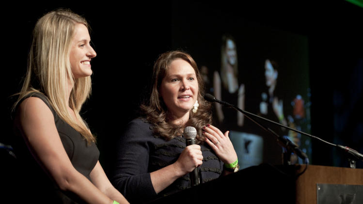 Bethany Becker, left, and Jennifer Buckmaster speak during Eva Longoria's Celebrity Casino Night benefitting Eva's Heroes and presented by Xbox 360, on Saturday, Oct. 6, 2012 in San Antonio, Texas. (Photo by Darren Abate/Invision for Xbox 360/AP Images)