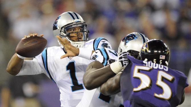 Panthers score 4 TDs on returns, beat Ravens 34-27