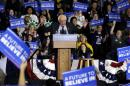 Democratic presidential candidate Sen. Bernie Sanders, I-Vt., speaks at a campaign stop at Sheboygan South High School's Acuity Fieldhouse in Sheboygan, Wis., Friday, April 1, 2016. (AP Photo/Nam Y. Huh)