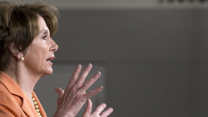 House Minority Leader Nancy Pelosi of California speaks to reporters on Capitol Hill in Washington, Thursday, Dec. 13, 2012. Pelosi questions why the fiscal cliff negotiations are going to the last minute.  (AP Photo/J. Scott Applewhite)