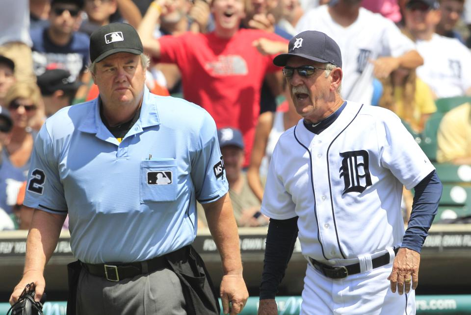 Detroit Tigers' manager Jim Leyland argues with home plate umpire Joe West during the second inning of a baseball game against the Cleveland Indians in Detroit, Sunday, Aug. 5, 2012. (AP Photo/Carlos Osorio)