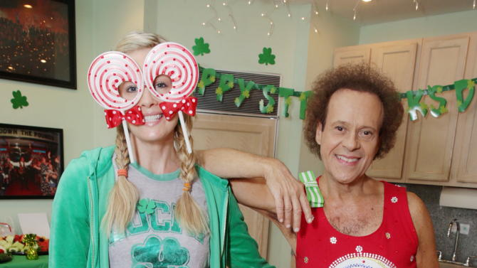 Monica Potter and Richard Simmons at St. Patty's Day Slimdown benefiting the Lollipop Theatre Network held at Slimmons on Sunday, Mar., 17, 2013 in Beverly Hills, CA. (Photo by Eric Charbonneau/Invision for Lollipop Theatre Network/AP Images)