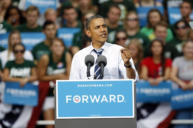 President Barack Obama makes a point during campaign stop on the campus of Colorado State University in Fort Collins, Colo., on Tuesday, Aug. 28, 2012. (AP Photo/David Zalubowski)